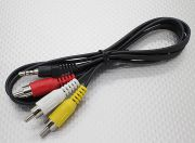 3.5mm to Male Stereo RCA A/V Plugs Adaptor Lead (1000mm) (RU Warehouse)